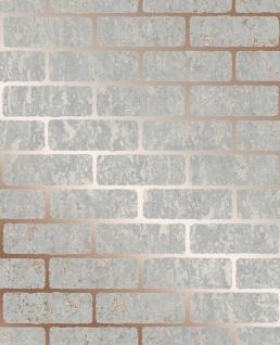 Strukturierte Ziegelstein Optik Tapete rose gold metallic grau 106522 Loft Brick