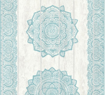 Vliestapete Mandala Ornament Holz Paneel Optik türkis creme Boho Love 36462-4