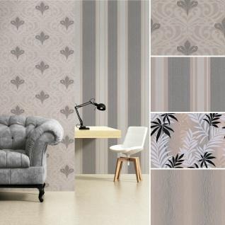 Tapete Barock Ornament Damask Streifen Dschungel braun grau taupe metallic