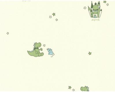 Esprit Kids Vlies Tapete Drachen Schlösser Sterne creme grün 1092-17