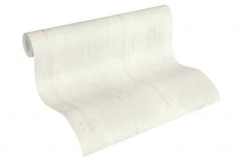 Luxus Vliestapete Streifen Barock Ornamente Floral weiß silber 33084-3 Hermitage