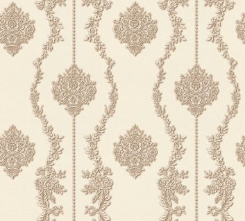 Vlies Tapete Barock Ornament Streifen creme braun metallic 34493-5 Chateau 5
