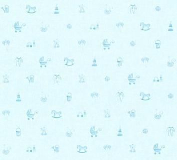 Vliestapete Kinder Baby Spielzeug Teddy Bär Schaukelpferd Strampler blau 35854-2
