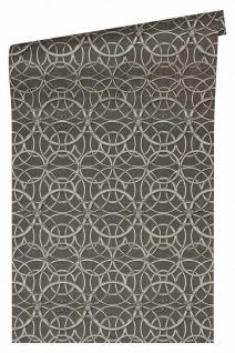 Versace 4 Vlies Tapete grafische Kreise Medusa grau silber metallic 370495