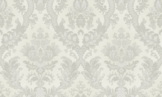 Hochwertige Vliestapete Barock Ornament Stickoptik creme silber glänzend 1007-1