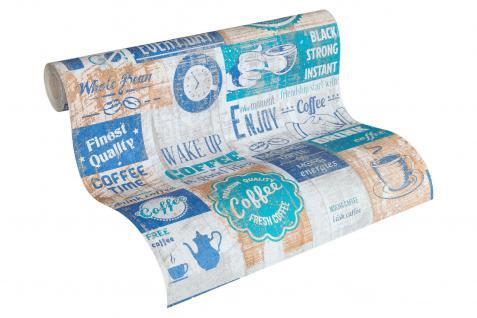 Papier Küchen Tapete Kaffe Coffee Cafe weiß grau blau türkis 33480-4