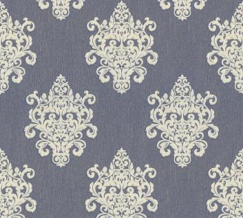 Vliestapete Barock Ornament blau weißgold Großrolle 10, 05 x 1, 06 m 36454-5