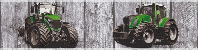 Kinder Tapeten Bordüre Holz Traktor Trecker grau grün 35843-1