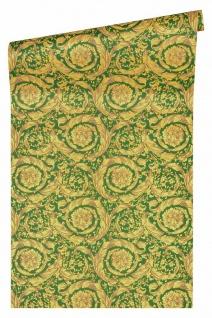 Versace 4 Vlies Tapete Federn Ranken Kreis Ornament grün gelb metallic 366926