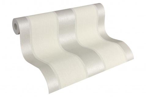 Vlies Tapete Streifen Optik Fleece Royal weiß grau silber metallic A.S Creation