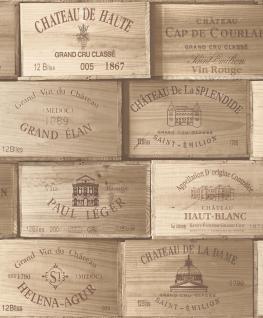 Vlies Tapete Wein Kisten Muster braun Holz decor PE-11-01-1 wine box