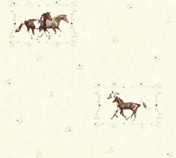 Kinder Mädchen Vliestapete Pferde Ponys creme braun 35837-2 Kindertapete