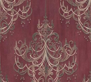 Vliestapete Kronleuchter Barock Ornament Perlen bordeaux rot gold 38096-3