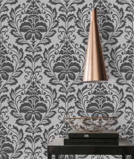 Vlies Tapete Barock Ornament schwarz silber grau metallic 36910-2