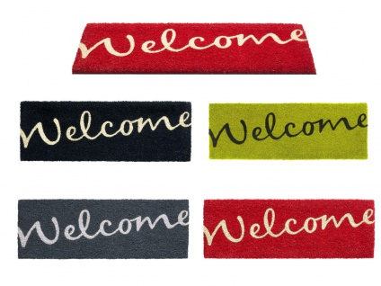 Kokos Fußmatte Welcome 26 x 75 cm Bodenmatte Fußabtreter Schmutzfangmatte