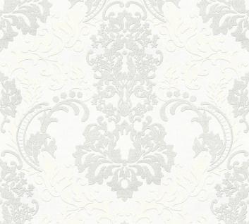 Vliestapete Barock Ornament weiß silber glitzer 36166-1 Neue Bude 2.0 Klara
