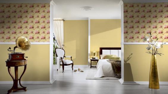 Vlies Tapete Uni Struktur Muster gelb gold glanz 34503-9 Chateau 5 - Vorschau 2
