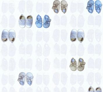 Vliestapete Kinder Baby Schüchen Schuhe weiß blau 35862-2