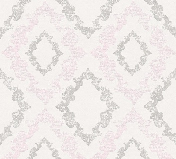 Vliestapete Barock Ornament Glitzer grau rosa weiß 32989-2 Memory 3