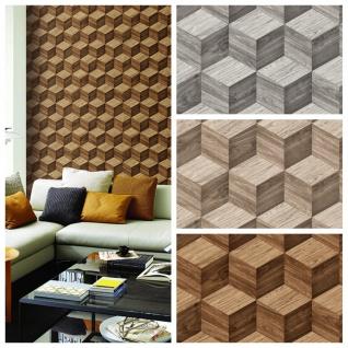 Vlies Tapete 3D effekt Illusion Holzwürfel Wood Cubes beige braun grau