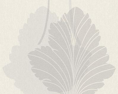 Vlies Tapete Floral Blatt Panel weiß grau silber metallic Fleece Royal