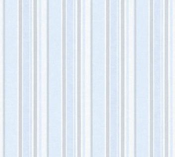 Vliestapete Kinder Streifen Muster blau silber 35849-3 Little Stars boy girl