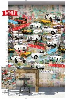 Vlies Foto Tapete Roadtrip Oldtimer Autos Städte Wandbild 200 x 300cm DI2036