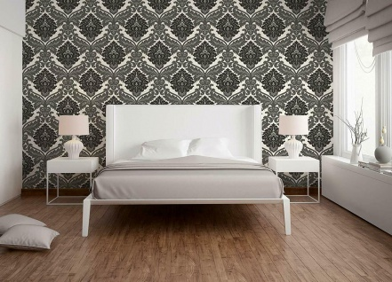 Vlies Tapete Barock Muster Ornament metallic effekt schwarz grau weiß klassisch