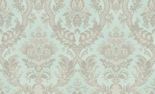 Hochwertige Vliestapete Barock Ornament Stickoptik mint silber glänzend 1007-3