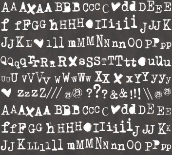 Vlies Tapete Buchstaben Schrift Satzzeichen Alphabet schwarz weiß Cozz 36298-1