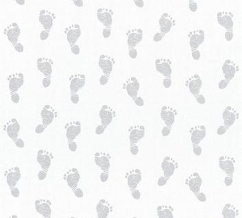 Vliestapete Kinder Baby Füße Fußabdruck weiß silber grau 35863-1