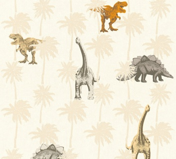 Kinder Vliestapete Dinosaurier Dinos T-Rex creme beige orange 35835-1