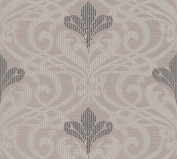Vinyl Tapete Barock Muster Ornament Damask beige grau metallic Kingston 327553