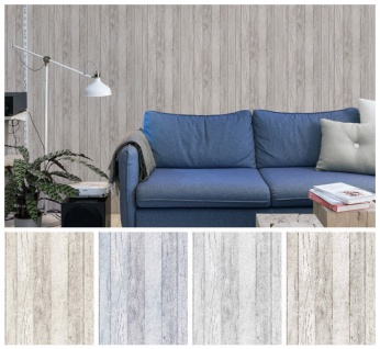 Vlies Tapete Antik Holz beige braun blau creme grau shabby