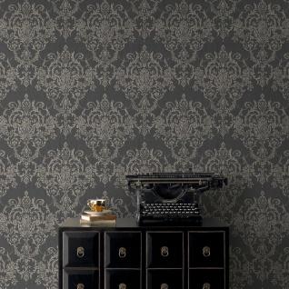 Viktorianische Barock Vlies Tapete Damask schwarz weiß gold metallic 103028