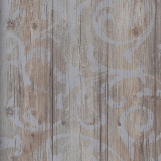 Vlies Tapete Antik Holz rustikal Ornament Muster Barock braun grau shabby