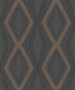 Vlies Tapete Rauten Muster Karo anthrazit schwarz bronze metallic OR3003 Kariert