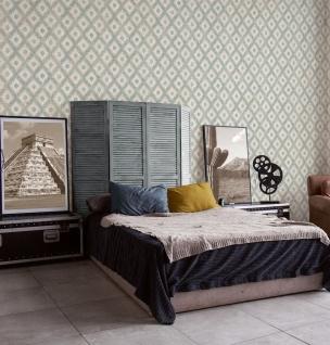 Vlies Tapete Ethno Rauten Muster Textil Optik blau beige California 36376-3