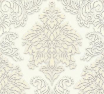 Vliestapete Barock Ornament creme weiss grau glitzer 36898-2