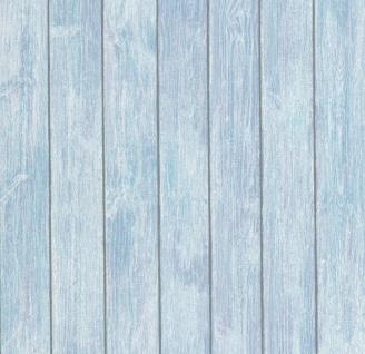 Vlies Tapete Holzoptik Paneele antik blau türkis holztapete holzbalken shabby - Vorschau 1