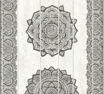Vliestapete Mandala Ornament Holz Paneel Optik schwarz weiß Boho Love 36462-3