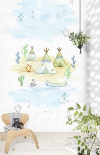 Kinder Vlies Fototapete Tipi Indianer Zelt Abenteuer Wandbild 200x300cm INK7006