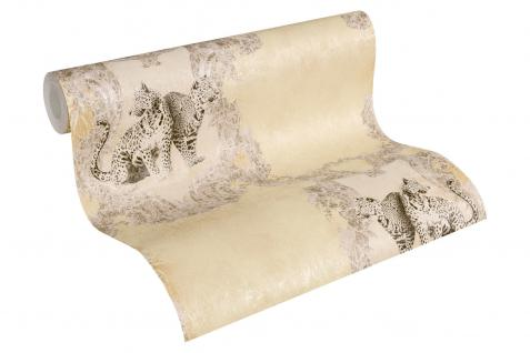 Luxus Vliestapete Barock Leoparden creme beige Ornamente klassisch 33543-2