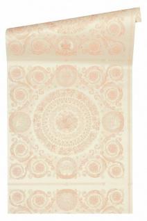Versace 4 Vlies Tapete Florales Ornament Kacheln creme rosa metallic 370556