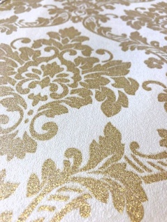 Vliestapete Neobarock Ornament weiß gold Glitzer metallic glitter 13701-50 - Vorschau 2