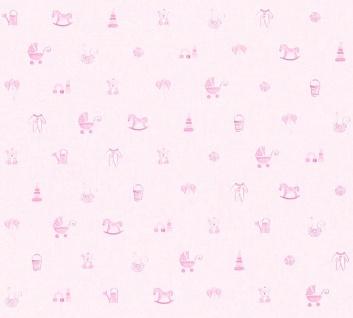Vliestapete Kinder Baby Spielzeug Teddy Bär Schaukelpferd Strampler rosa 35854-1