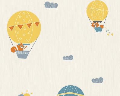 Esprit Kids 5 Vliestapete Ballon Fuchs Himmel Wolken blau gelb creme 30295-2