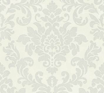 Barock Ornament Vlies Tapete creme silber Glitzer Trendwall 37270-2 / 372702