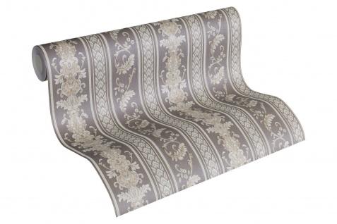 Luxus Vliestapete Ranken Streifen grau braun silber glanz 33547-5 Hermitage