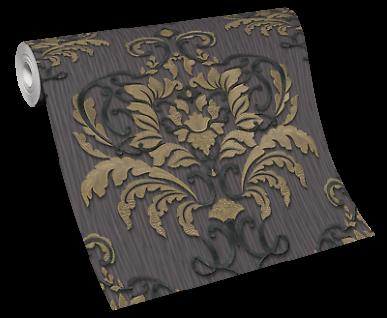 Vlies Tapete Barock Ornament metallic anthrazit schwarz gold 10102-34